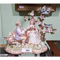 FIGURAL PORCELAIN MUSICAL LAMP