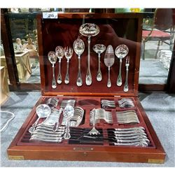 APPROX 69 PC SILVERPLATE FLATWARE SET IN ROSEWOOD CANTEEN