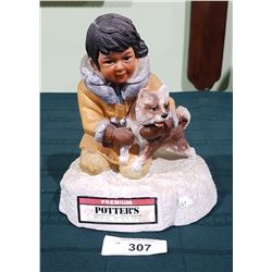 VINTAGE COLLECTIBLE INNUIT POTTERS WHISKEY DECANTER