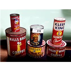 6 VINTAGE COLLECTIBLE TINS