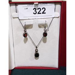 STERLING SILVER NECKLACE & EARRING SET W/RED STONES