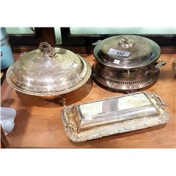 3 SILVERPLATE SERVING DISHES