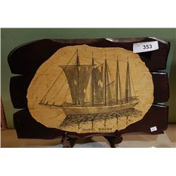 SCHOONER PRINT ON WOOD PLAQUE