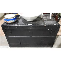 VINTAGE BLACK SHIPPING TRUNK