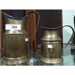 2 VINTAGE BRASS PITCHERS