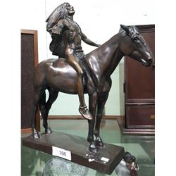NATIVE CHIEF ON HORSE STATUE SIGNED C.E.DALLIN