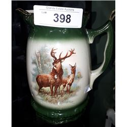 VICTORIAN PORCELAIN PITCHER W/ELK THEME