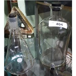 2 VINTAGE GLASS LABORATORY FLASK