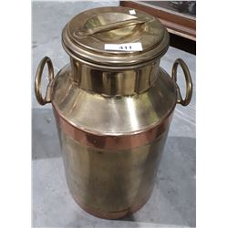 LARGE BRASS AND COPPER MILK CAN