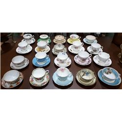 COLLECTION OF 20 BONE CHINA TEACUP AND SAUCERS