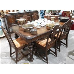 9 PC ANTIQUE WALNUT TABLE AND CHAIRS SET