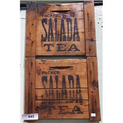 VINTAGE MOUNTED SALADA TEA WOOD CRATE ENDS