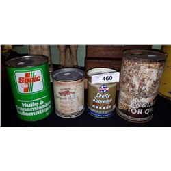 4 VINTAGE COLLECTIBLE OIL TINS