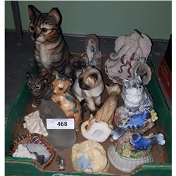 BOX LOT OF CAT COLLECTIBLES