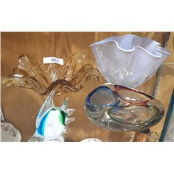 4 PIECES OF ART GLASS