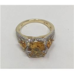Natural Citrine/ Diamond Details (14ktGold) Ring- Suggested retail $6,700 Val:# 18-GR6715