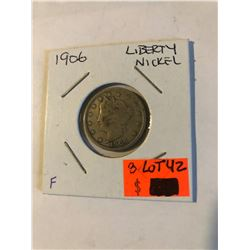 "Early 1906 Liberty ""V"" Nickel in Fine Grade Some LIBERTY Nice US Coin"