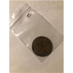 1919 British Large One Penny Nice Better Grade Early GB Coin