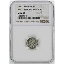 1782 Germany Brandenburg-Ansbach 4 Pence Coin NGC MS65+