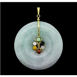 Carved Nephrite Jade Circle and Multi-Color Jade Pendant - 14KT Yellow Gold