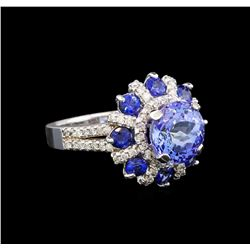 14KT White Gold 2.49 ctw Tanzanite, Sapphire and Diamond Ring