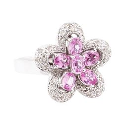 2.22 ctw Pink Sapphire And Diamond Ring - 14KT White Gold