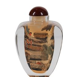 """Large, Vintage Chinese Reverse Painted Snuff Bottle """"Chinese Village Scenes"""""""