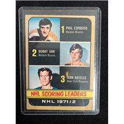 1972-73 TOPPS NHL SCORING LEADERS #63 BOBBY ORR/ PHIL ESPOSITO/ JEAN RATELLE