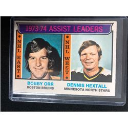 1973-74 Topps #2 Bobby Orr/ Dennis Hextall (Assist Leaders)