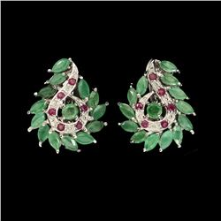Natural Top Rich Green Emerald & Ruby Earrings