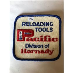 "Vintage Outdoors ""RELOADING TOOLS PACIFIC HORNADY"" Patch in Like New Condition"