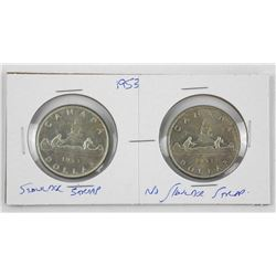 Lot (2) 1953 Silver Dollars S.T. and N.S.S.