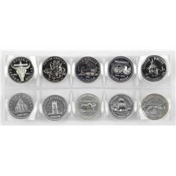 Lot (10) Proof Canada Silver Dollars