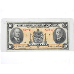 Royal Bank of Canada 1935 Ten Dollar Note. Large S