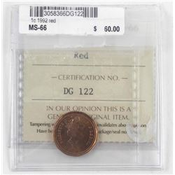 1992 Canada One Cent ICCS. MS66. Red (CR)