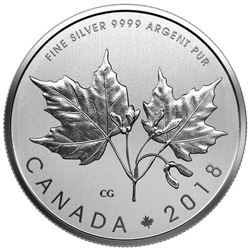 2018 - .9999 Fine Silver Maple Leaves $10.00 Coin