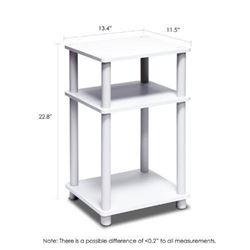 Furinno 11087 Just 3-Tier No Tools Tube End Table- White with White Tube