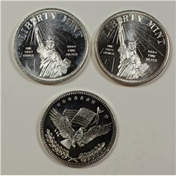 (3) 1 OZ. .999 SILVER ROUNDS