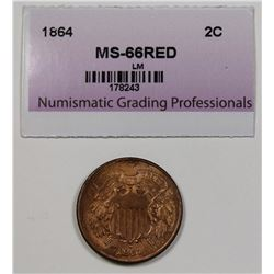 1864 TWO CENT LARGE MOTTO GEM BU+