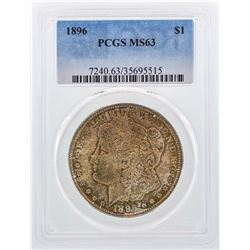 1896 $1 Morgan Silver Dollar Coin PCGS MS63 Nice Color