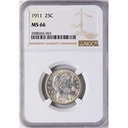 1911 Barber Quarter Coin NGC MS66