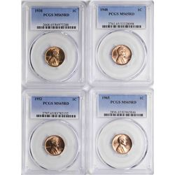 Lot of 1938, 1948, 1952, 1965 Lincoln Wheat Cent Coins PCGS MS65RD