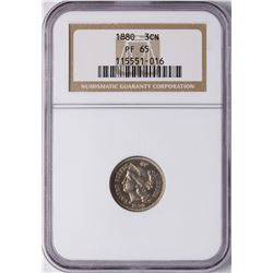 1880 Proof Three Cent Nickel Coin NGC PF65