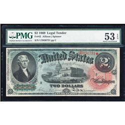 1869 $2 Rainbow Legal Tender Note Fr.42 PMG About Uncirculated 53EPQ