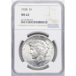 1928 $1 Peace Silver Dollar Coin NGC MS62