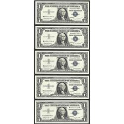 Lot of (5) Consecutive 1957B $1 Silver Certificate Notes
