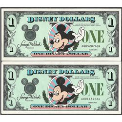 Lot of (2) 1987A $1 Disney Dollar Notes - First Year of Issue