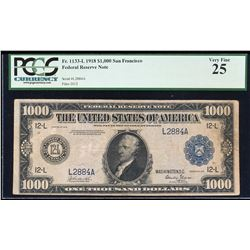 1918 $1,000 Federal Reserve Note San Francisco Fr.1133-L PCGS Very Fine 25
