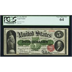 1863 $5 Legal Tender Note Fr.63a PCGS Very Choice New 64