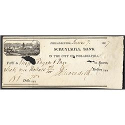 1827 Schuylkill Bank Obsolete Note- Holes